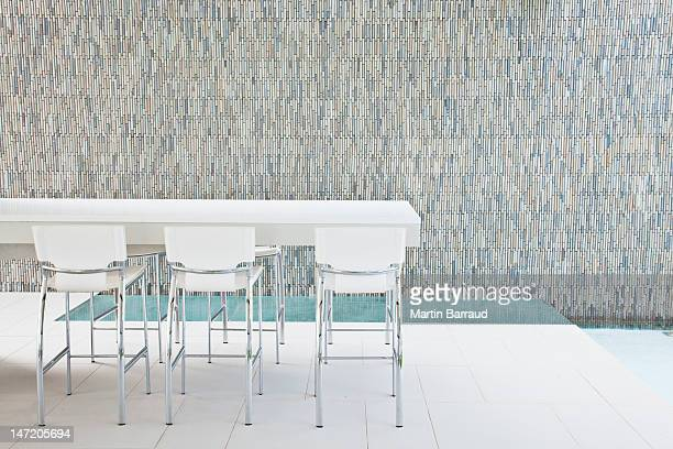 Barstools at counter on patio with fountain