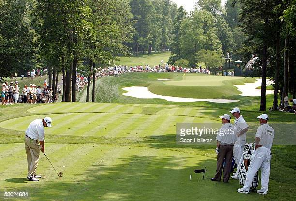 Bart Bryant of the USA hits his tee shot on the eighth hole during the final round of The Memorial on June 5 2005 at Muirfield Village Golf Club in...