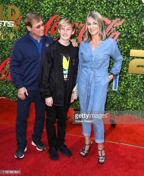 Bart Conner Dylan Conner and Nadia Comaneci arrives at the 7th Annual Gold Meets Golden at Virginia Robinson Gardens and Estate on January 04 2020 in...