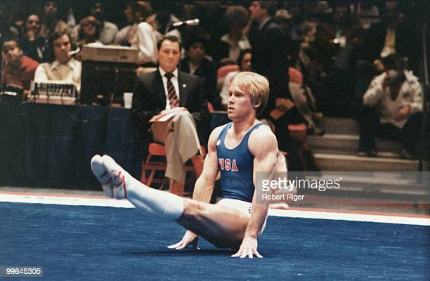 Bart Conner of the United States competes in a gymnastics competition, late 1970 or early 1980s.