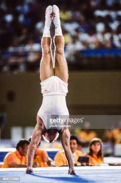 Bart Conner of the USA performs in the floor exercise event during the Men's Gymnastics competition of the 1984 Summer Olympic Games held from July...