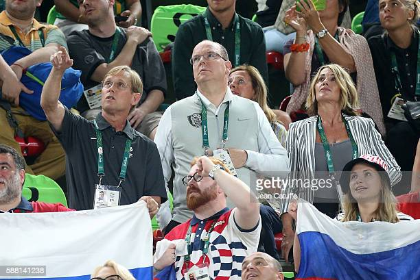 Bart Conner , Prince Albert II of Monaco, Nadia Comaneci attend the women's team final in Artistic Gymnastics at Rio Olympic Arena on August 9, 2016...