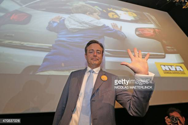 Bart De Wever, head of the New Flemish Alliance and mayor or Antwerp gestures during the launch of his party's spring campaign in Brussels, on April...