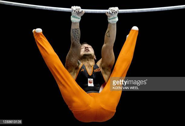 Bart Deurloo of the Netherlands competes on the stretch during a friendly match between the core gymnastics teams of the Netherlands and Great...