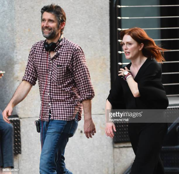 Bart Freundlich and Julianne Moore are seen on the set of After The Wedding on May 29, 2018 in New York City.