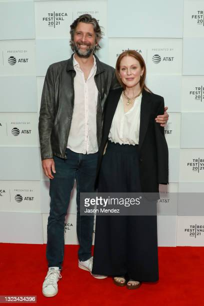 """Bart Freundlich and Julianne Moore attend """"With/In Vol.1"""" Premiere during the 2021 Tribeca Festival at Brookfield Place on June 13, 2021 in New York..."""