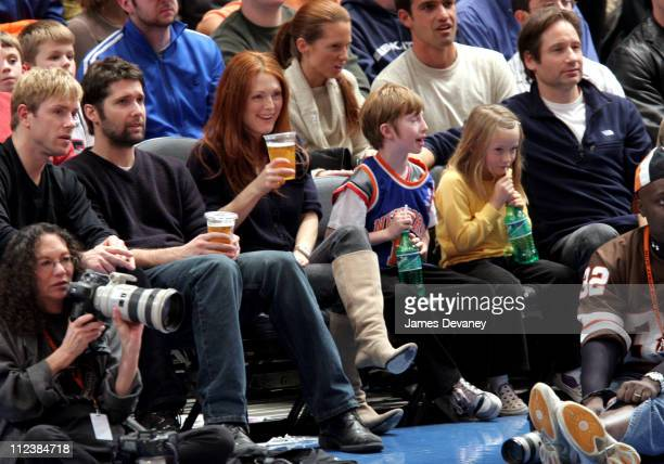 Bart Freundlich and Julianne Moore with son and David Duchovny and daughter Madelaine West