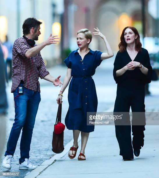 Bart Freundlich, Julianne Moore, and Michelle Williams are seen on the set of After The Wedding on May 29, 2018 in New York City.