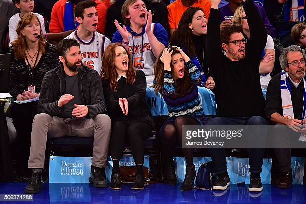 Bart Freundlich Julianne Moore Emmy Rossum and Sam Esmail attend the Los Angeles Clippers vs New York Knicks game at Madison Square Garden on January...