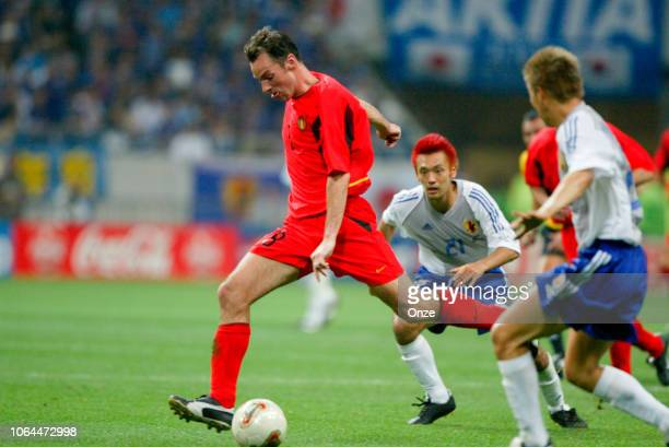 Bart Goor of Belgium and Kazuyuki Toda of Japan during the World Cup match between Japan and Belgium in Saitama Stadium in Saitama Japan on June 4th...