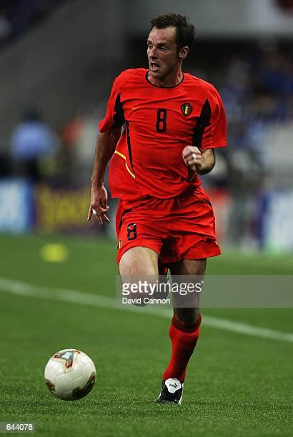 Bart Goor of Belgium runs with the ball during the FIFA World Cup Finals 2002 Group H match between Japan and Belgium played at the Saitama Stadium...