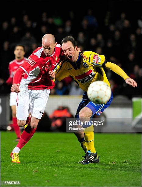Bart Goor of KVC Westerlo and Laurent Ciman of Standard Liege challenges for the ball during the Jupiler League match between Westerlo and Standard...