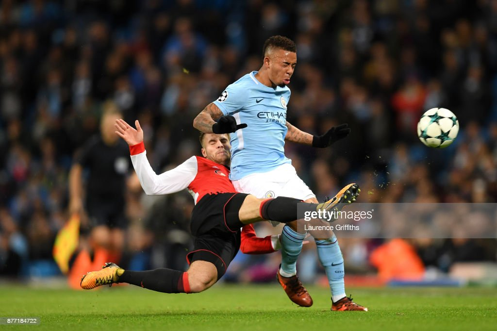 Bart Nieuwkoop of Feyenoord and Gabriel Jesus of Manchester City in action during the UEFA Champions League group F match between Manchester City and Feyenoord at Etihad Stadium on November 21, 2017 in Manchester, United Kingdom.