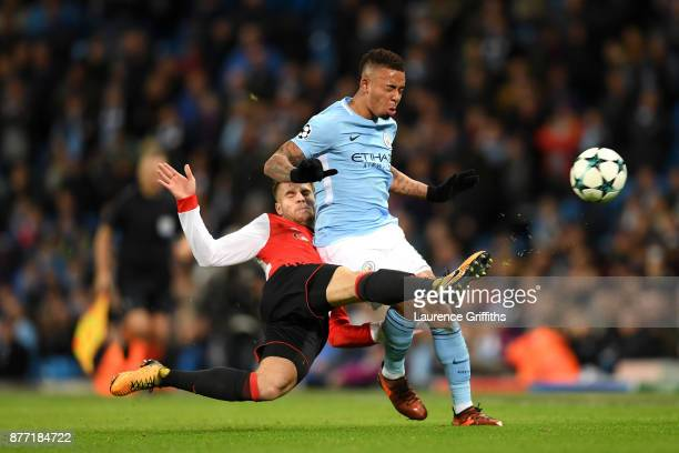 Bart Nieuwkoop of Feyenoord and Gabriel Jesus of Manchester City in action during the UEFA Champions League group F match between Manchester City and...