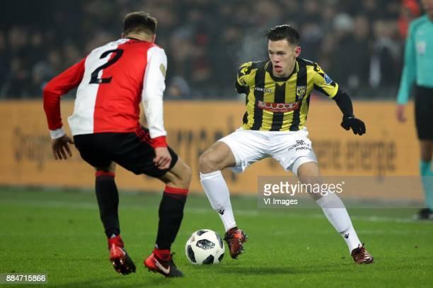 Bart Nieuwkoop of Feyenoord Mitchell van Bergen of Vitesse during the Dutch Eredivisie match between Feyenoord Rotterdam and Vitesse Arnhem at the...
