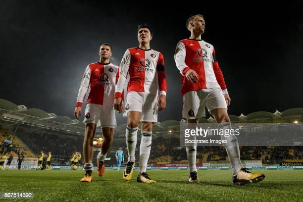 Bart Nieuwkoop of Feyenoord Steven Berghuis of Feyenoord Nicolai Jorgensen of Feyenoord during the Dutch Eredivisie match between Roda JC v Feyenoord...