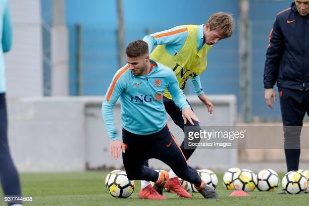 Bart Nieuwkoop of Holland U21 Michel Vlap of Holland U21 during the Training Holland U21 at the Ciutat Esportiva Dani Jarque on March 25 2018 in...