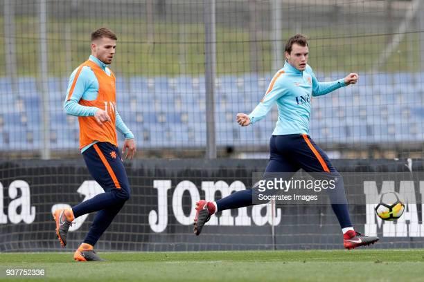 Bart Nieuwkoop of Holland U21 Thomas Ouwejan of Holland U21 during the Training Holland U21 at the Ciutat Esportiva Dani Jarque on March 25 2018 in...
