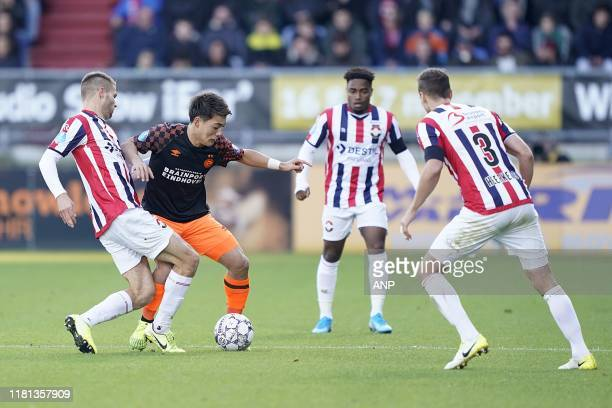 Bart Nieuwkoop of Willem II Ritsu Doan of PSV Che Nunnely of Willem II Freek Heerkens of Willem II during the Dutch Eredivisie match between Willem...