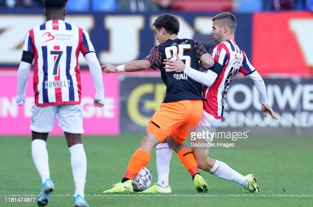 Bart Nieuwkoop of Willem II Ritsu Doan of PSV Che Nunnely of Willem II during the Dutch Eredivisie match between Willem II v PSV at the Koning Willem...