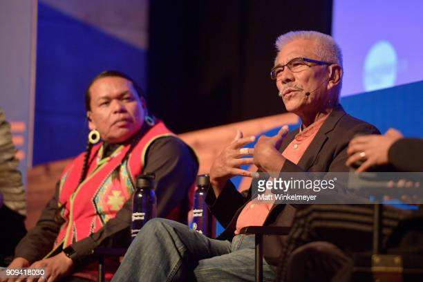 Bart Powaukee and Anote Tong speak onstage during The New Climate Panel during the 2018 Sundance Film Festival at Egyptian Theatre on January 23 2018...