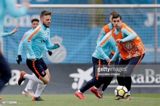Bart Ramselaar of Holland U21 Justin Hoogma of Holland U21 during the Training Holland U21 at the Ciutat Esportiva Dani Jarque on March 25 2018 in...