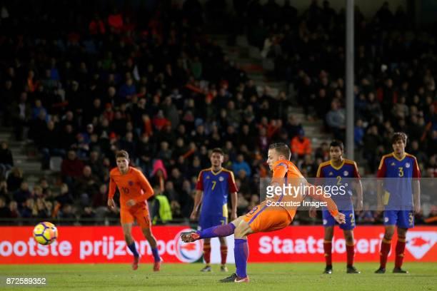 Bart Ramselaar of Holland U21 scores his sideÕs first goal to make it 60 during the match between Holland U21 v Andorra U21 at the De Vijverberg on...