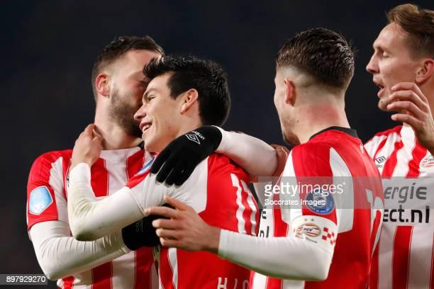 Bart Ramselaar of PSV Hirving Lozano of PSV Celebrate goal Marco van Ginkel of PSV Luuk de Jong of PSV during the Dutch Eredivisie match between PSV...
