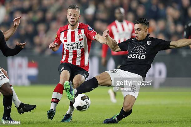 Bart Ramselaar of PSV Joey Pelupessy of Heracles Almeloduring the Dutch Eredivisie match between PSV Eindhoven and Heracles Almelo at the Phillips...