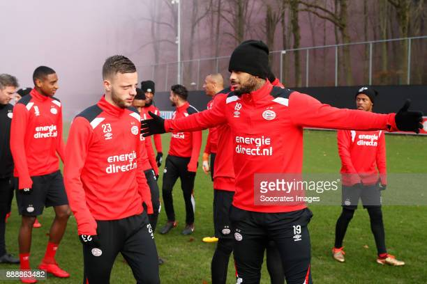 Bart Ramselaar of PSV Jurgen Locadia of PSV during the match between Training PSV at the De Herdgang on December 9 2017 in Eindhoven Netherlands