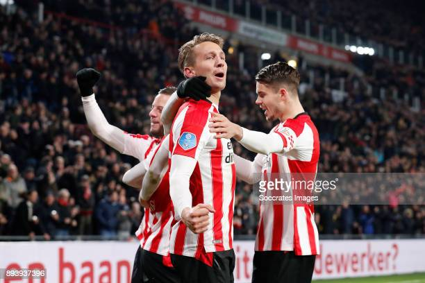 Bart Ramselaar of PSV Luuk de Jong of PSV Marco van Ginkel of PSV during the Dutch Eredivisie match between PSV v ADO Den Haag at the Philips Stadium...