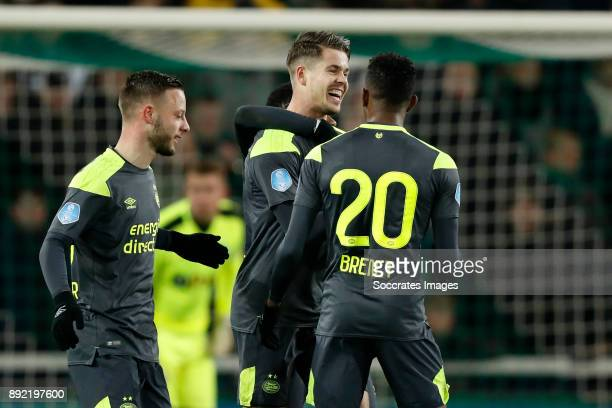 Bart Ramselaar of PSV Marco van Ginkel of PSV Steven Bergwijn of PSV Joshua Brenet of PSV during the Dutch Eredivisie match between FC Groningen v...