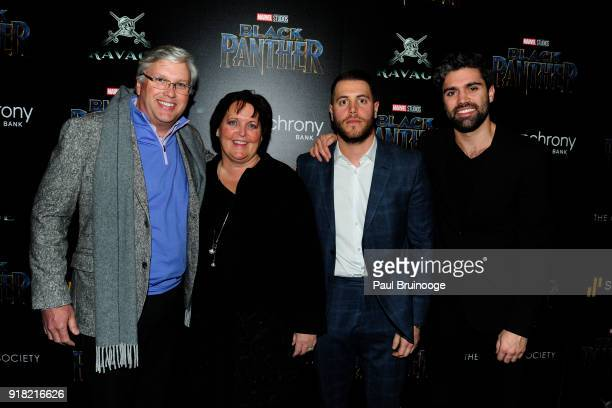 Bart Schaller and Margaret Kean attend The Cinema Society with Ravage Wines Synchrony host a screening of Marvel Studios' Black Panther at The Museum...