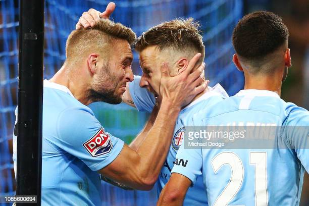Bart Schenkenveld of the Cityll and Scott Jamieson of the City celebrate their goal Dario Vidosic of the City during the round nine ALeague match...