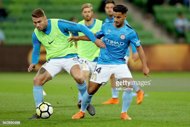 Bart Schenkeveld and Daniel Arzani of Melbourne City warm up prior to the round 26 ALeague match between Melbourne City and the Central Coast...