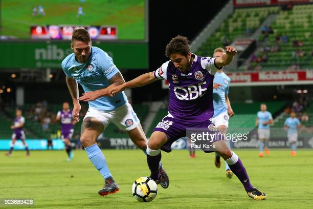 Bart Schenkeveld of Melbourne and Jacob Italiano of the Glory contest for the ball during the round 21 ALeague match between the Perth Glory and...