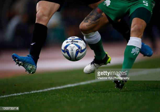 Bart Schenkeveld of Panathinaikos and Karol Swiderski of PAOK battle for the ball during the Greece SuperLeague match between Panathinaikos FC and...