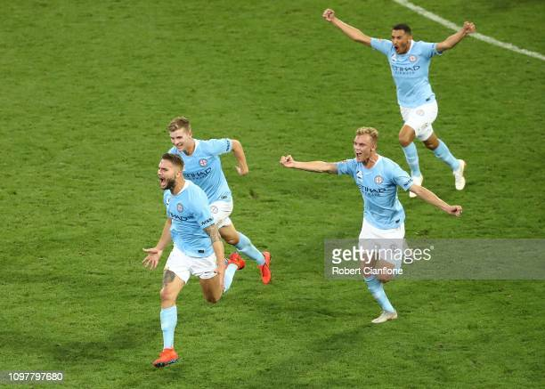 Bart Schenkeveld of the Melbourne City celebrates after scoring a goal during the round 15 ALeague match between Melbourne City and the Western...