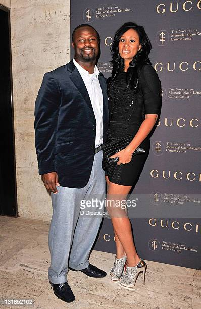 Bart Scott and Starr Scott attend the Society of Memorial SloanKettering Cancer Center's 2010 fall party at the Four Seasons Restaurant on November...