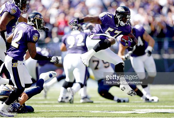 Bart Scott of the Baltimore Ravens returns an interception in the 1st quarter against the San Diego Chargers on October 1, 2006 at M&T Bank Stadium...