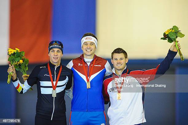 Bart Swings of Belarus Denis Yuskov of Russia and Joey Mantia of USA stand on the podium after the Men's 1500m during the ISU World Cup Speed Skating...