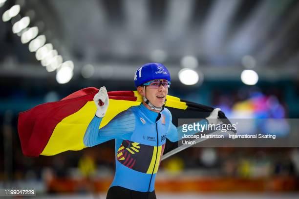 Bart Swings of Belgium celebrates after winning the Men's Mass Start during day 3 of the ISU European Speed Skating Championships at ice rink Thialf...