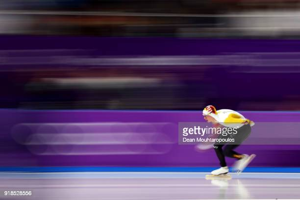 Bart Swings of Belgium competes during the Speed Skating Men's 10,000m on day six of the PyeongChang 2018 Winter Olympic Games at Gangneung Oval on...