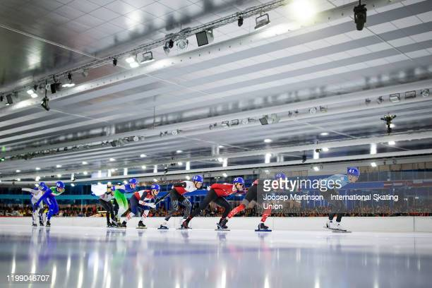 Bart Swings of Belgium leads the pack in the Men's Mass Start during day 3 of the ISU European Speed Skating Championships at ice rink Thialf on...