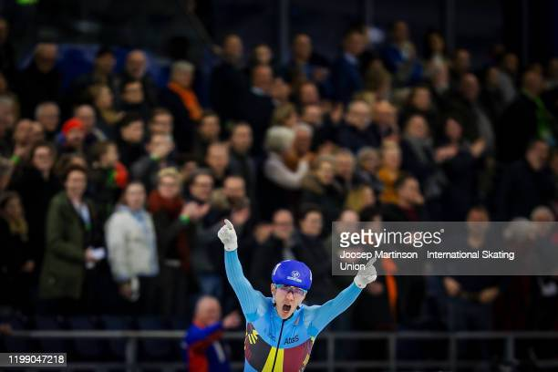 Bart Swings of Belgium reacts after finishing first in the Men's Mass Start during day 3 of the ISU European Speed Skating Championships at ice rink...