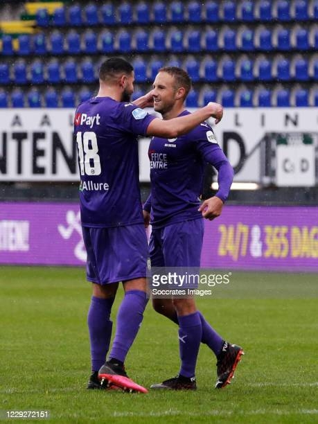 Bart van Hintum of FC Groningen celebrates 13 with Ahmed El Messaoudi of FC Groningen during the Dutch Eredivisie match between Fortuna Sittard v FC...