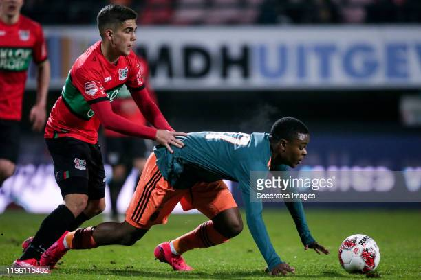 Bart van Rooij of NEC Nijmegen, Sontje Hansen of Ajax U23 during the Dutch Keuken Kampioen Divisie match between NEC Nijmegen v Ajax U23 at the...