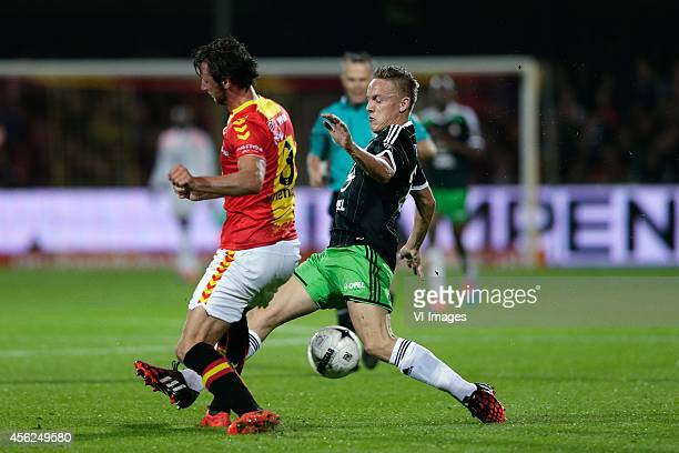 Bart Vriends of Go Ahead Eagles Jens Toornstra of Feyenoord during the Dutch Eredivisie match between Go Ahead Eagles and Feyenoord at The...