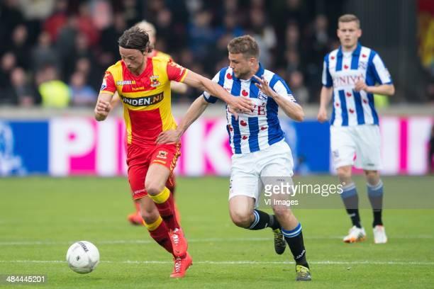 Bart Vriends of Go Ahead Eagles Joey van den Berg of sc Heerenveen during the Dutch Eredivisie match between Go Ahead Eagles and sc Heerenveen at The...