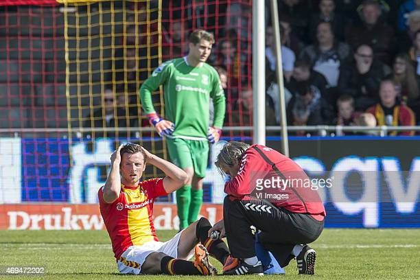 Bart Vriends of Go Ahead Eagles left the match injured during the Dutch Eredivisie match between Go Ahead Eagles and FC Twente at The Adelaarshorst...